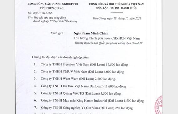 19 doanh nghiệp FDI trên địa bàn tỉnh Tiền Giang cầu cứu Chính phủ